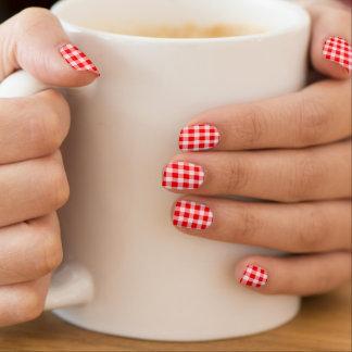 vintage red gingham plaid check fashion nails minx nail art
