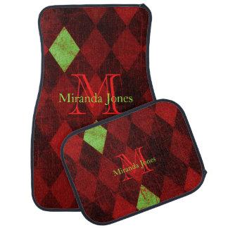 Vintage Red Gold Diamond Pattern Monogram Car Mat