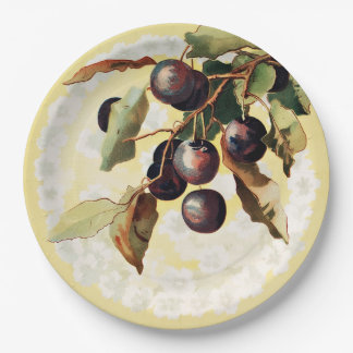 Vintage Red Grapes Paper Plates 9 Inch Paper Plate