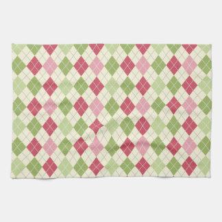 Vintage Red, Green, and Pink Argyle Pattern Tea Towel