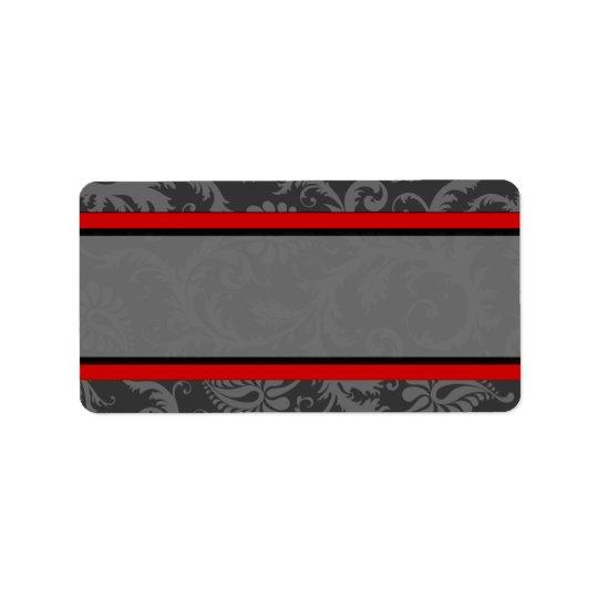Vintage Red Grey  Damask Label