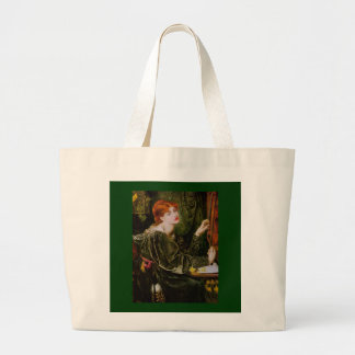 Vintage red-haired lady in green canvas bag
