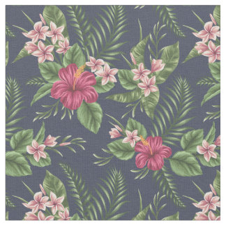 Vintage Red Hibiscus Flower and Leaves Fabric