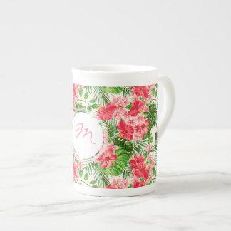 Vintage Red Hibiscus pattern Monogram Bone Mug