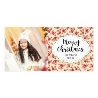 Vintage Red Holly Christmas Picture Photo Card