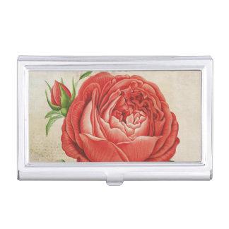 Vintage Red Hybrid Perpetual, Paul Neyron Rose Business Card Holder