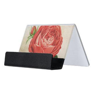 Vintage Red Hybrid Perpetual, Paul Neyron Rose Desk Business Card Holder