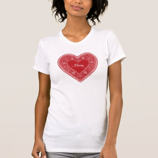 Vintage Red Lace Heart T-Shirt