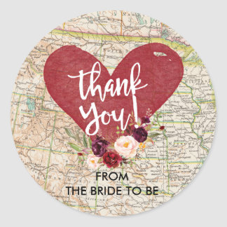 Vintage Red Marsala Floral Map Thank You Sticker