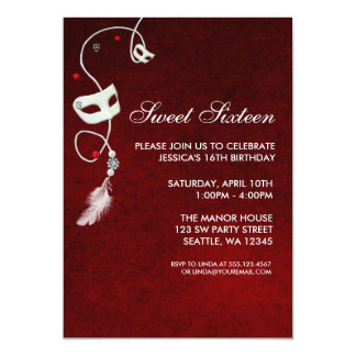 Vintage Red Masquerade Sweet Sixteen Birthday 13 Cm X 18 Cm Invitation Card