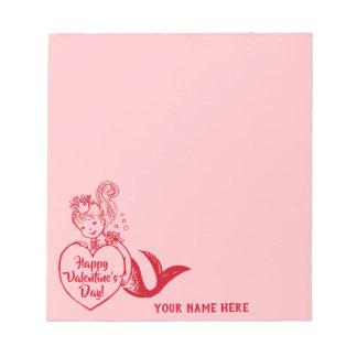 Vintage red mermaid notepad