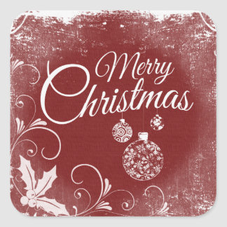 Vintage Red Merry Christmas Square Sticker
