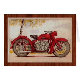 Vintage Red Motorcycle Card