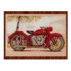 Vintage Red Motorcycle Postcard
