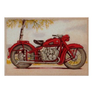 Vintage Red Motorcycle Print