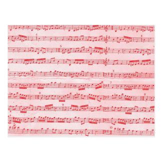 Vintage Red Musical Sheet Postcard