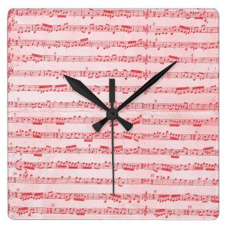 Vintage Red Musical Sheet Wallclock