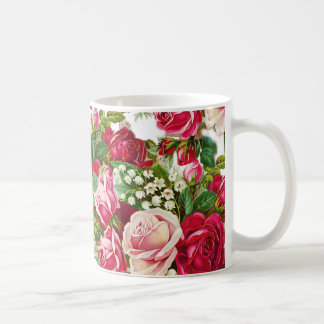 Vintage red pastel pink roses botanical flowers coffee mug