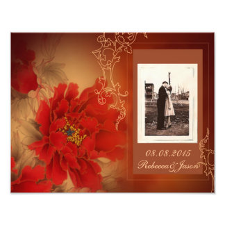 Vintage Red Peony Chinese Wedding Photographic Print