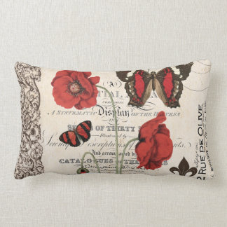 Vintage Red Poppies and Butterfly...pillow Lumbar Cushion