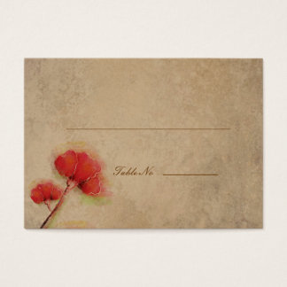 Vintage Red Poppies Parchment Look Business Card