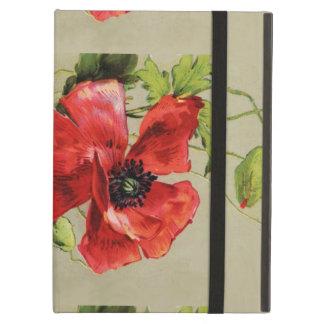 VINTAGE RED POPPY FLOWER , RUBY GEMSTONE MONOGRAM iPad FOLIO CASE