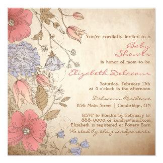 Vintage Red & Purple Flowers Baby Shower Custom Invite