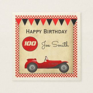 Vintage red race car and flags 100 birthday disposable napkins