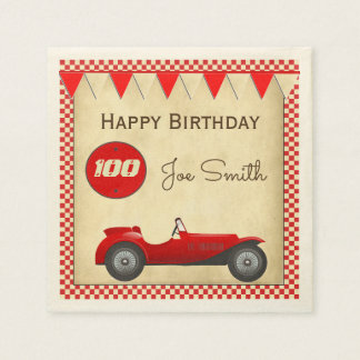 Vintage red race car and flags 100 birthday disposable serviette