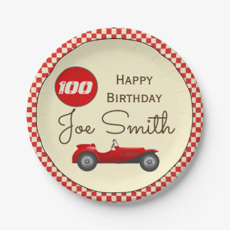 Vintage red race car and flags 100 birthday paper plate