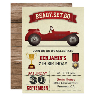 Vintage Red Race Car Kids Birthday Party Invite