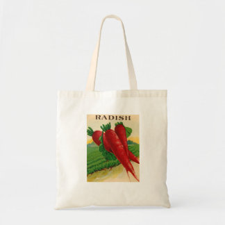 vintage red radish seed packet shopping bag