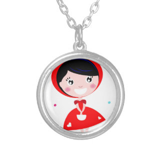 VINTAGE RED RIDING HOOD SILVER PLATED NECKLACE