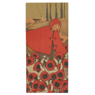 Vintage Red Riding Hood Wolf Poppy Flowers Wood USB 2.0 Flash Drive
