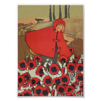 Vintage Red Riding Hood Wolf Poppy Flowers Poster