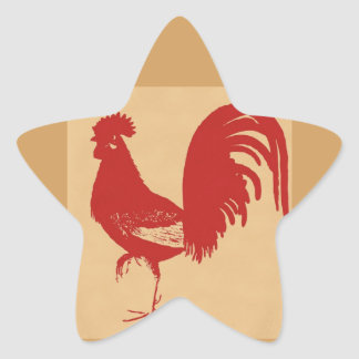 vintage-red-rooster--ON ALL ITEMS Star Sticker