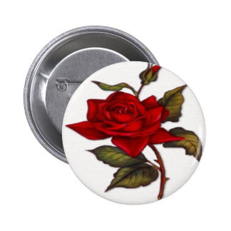 Vintage Red Rose Pinback Button