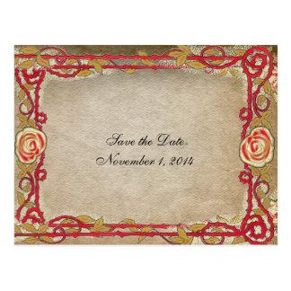 Vintage Red Rose Frame Save the Date Postcard