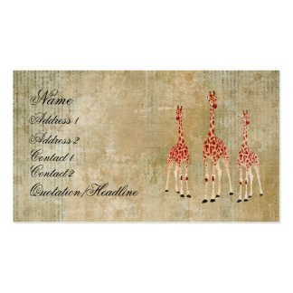 Vintage Red Rose Giraffes Business Card/Tags