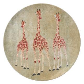Vintage Red Rose Giraffes Plate