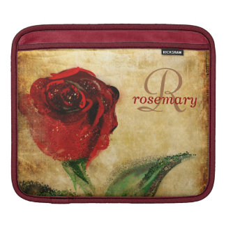 Vintage Red Rose Girly Monogram iPad Sleeve