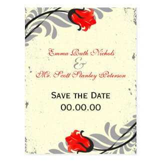 Vintage Red Rose Grunge Save The Date Postcard