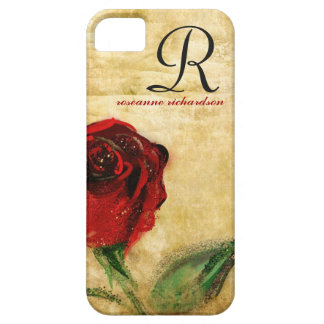 Vintage Red Rose Monogram iPhone 5 Case