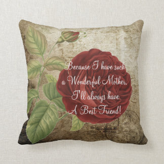 Vintage Red Rose - Mother's Day Throw Pillow