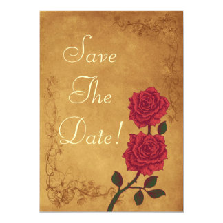 Vintage Red Rose  Save The Date Wedding 13 Cm X 18 Cm Invitation Card