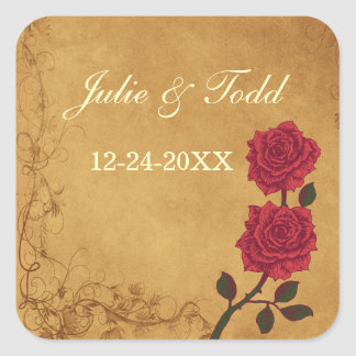 Vintage Red Rose Save The Date Wedding Square Sticker