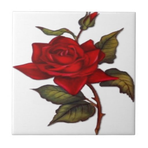 Vintage Red Rose Ceramic Tile