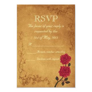 Vintage Red Rose Wedding RSVP 9 Cm X 13 Cm Invitation Card