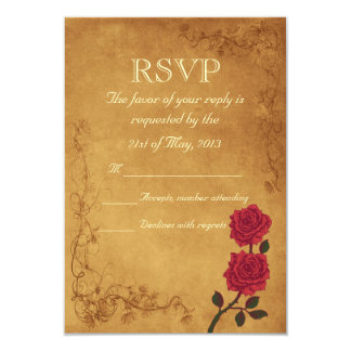 Vintage Red Rose Wedding RSVP Card