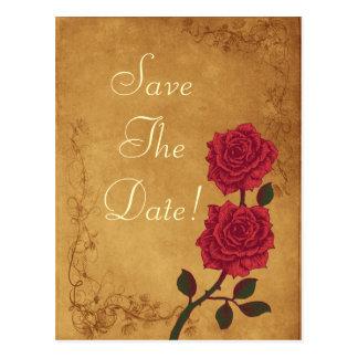 Vintage Red Rose Wedding Save The Date Postcard